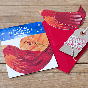 10 Folding Bird Christmas Cards - cards