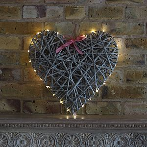 Hanging Willow Heart With LED Lights - christmas lights
