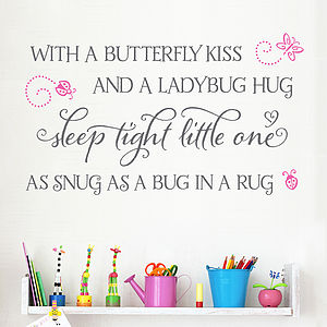 'With A Butterfly Kiss' Children's Wall Sticker