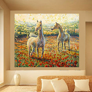 Horses In A Field Of Poppies Oil Painting - paintings & canvases