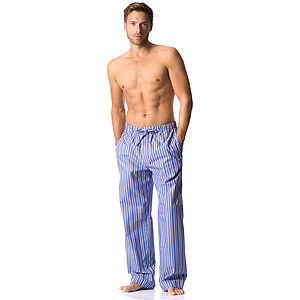 Men's Blue And White Striped Pj Bottoms - nightwear