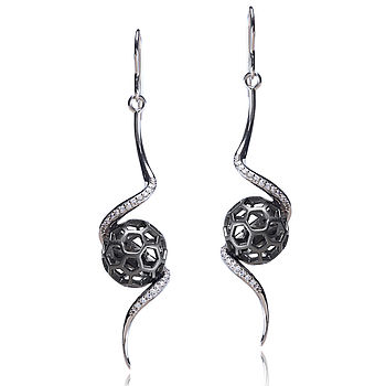 Black Rhodium Aeon Long Drop Earrings