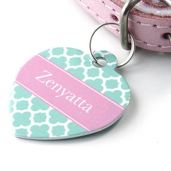 Personalised Pet Name Heart Tag Clover