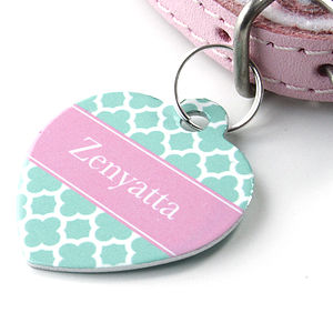 Personalised Pet Name ID Tag Heart Clover - cats