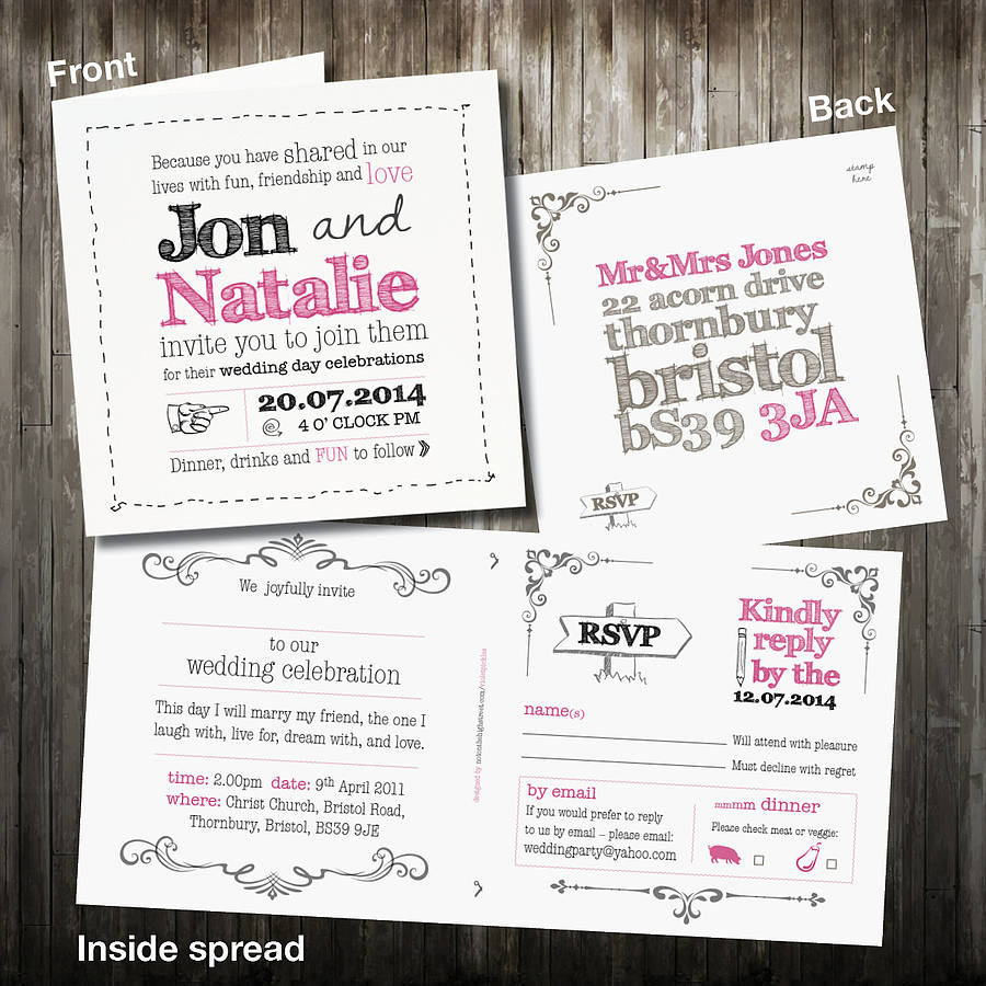 personalised sketch wedding invitation with rsvp