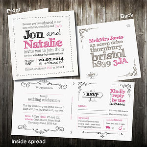 Personalised Sketch Wedding Invitation With RSVP - invitations