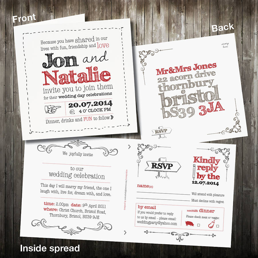 Personalised Sketch Wedding Invitation With Rsvp By Violet