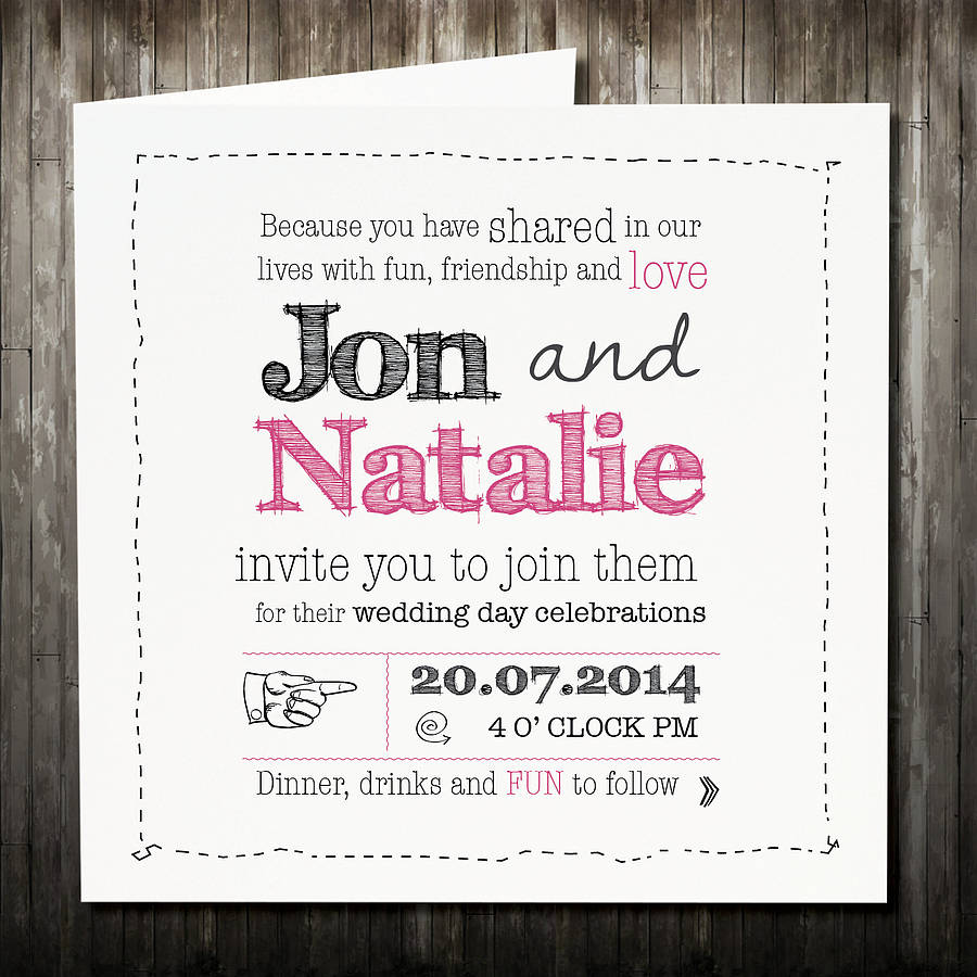 personalised sketch wedding invitation with rsvp by violet pickles