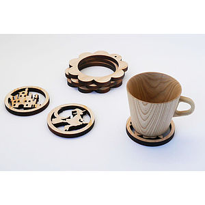 Two In One Wooden Coaster And Trivet Set