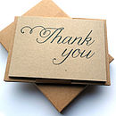 Set Of 12 Thank You Script Postcard Note Cards