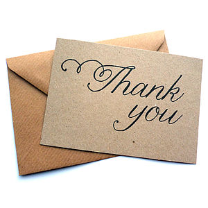 Set Of 12 Thank You Script Note Cards