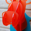Perspex Flat Pack Stags Head In Turquoise And Orange