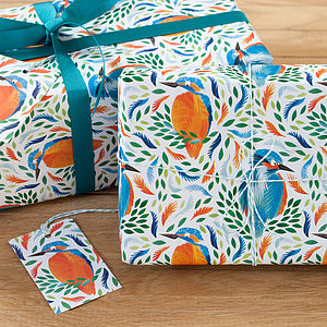 Bright Kingfisher Wrapping Paper - luxury wrap