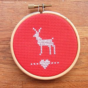 Nordic Deer Cross Stitch Christmas Decoration - christmas home accessories