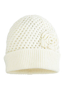 Moksi White Knit Hat - hats, scarves & gloves
