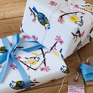 Blue Tit Blossom Wrapping Paper - ribbon & wrap