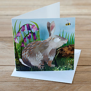 Bluebell Rabbit Greetings Card - easter cards