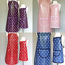 Purple spotty, pink spotty, red spotty and navy spotty fabric options