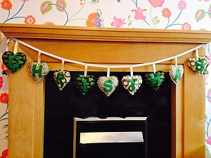Hand Made Green And Gold Christmas Banner - garlands & bunting