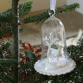 Glass Dome With Stag Hanging Christmas Decoration