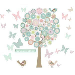 Bespoke Button Tree With Butterflies - wall stickers