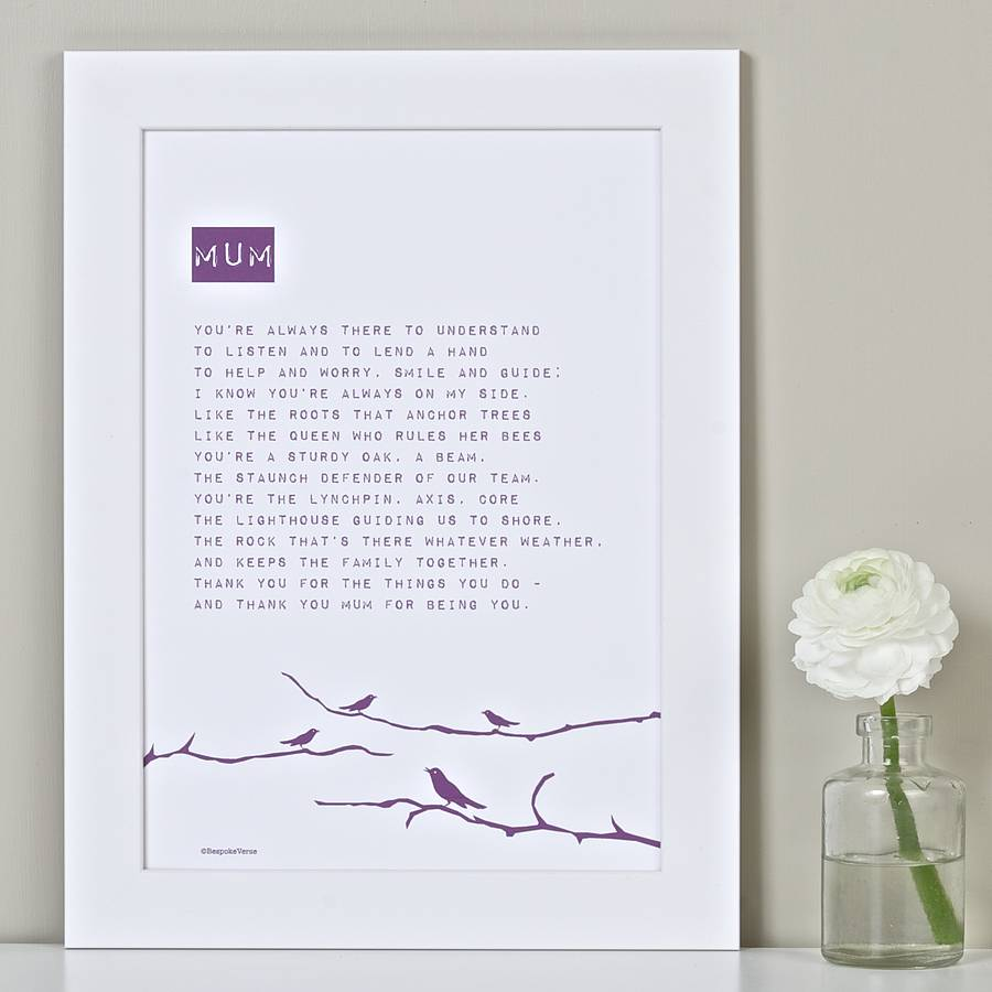 My Mum Poem Bird Print Rich Purple
