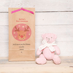 Personalised 1st Christmas Teddy Bear And Bag - baby's first christmas