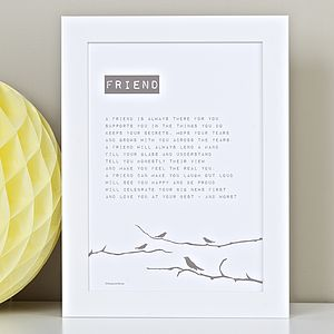 Personalised Friendship Print With Friendship Poem - home sale