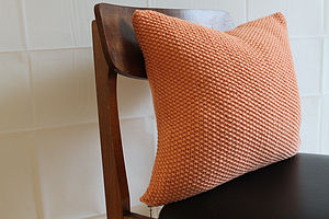 Moss Stitch Cushion   Handknit In Tangerine