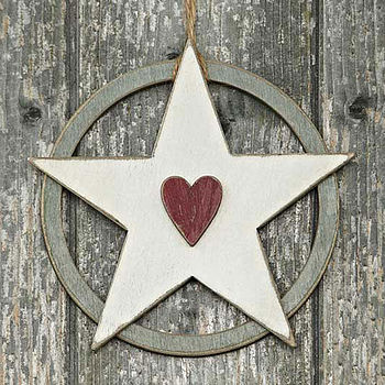 Folk White Star With Red Heart