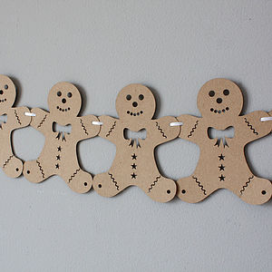 Laser Cut Gingerbread Man Bunting - parties
