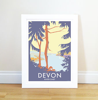 Greenway River Dart Trees Vintage Style Seaside Poster