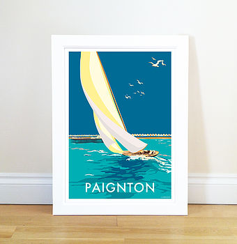 Paignton Vintage Style Seaside Poster Of