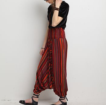 Shirred Waist Harem Trousers In Cotton Red-Stripe