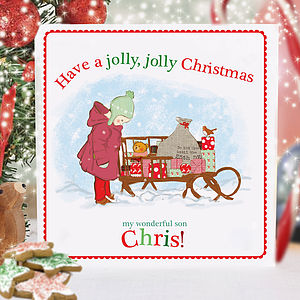 Boy's Personalised Christmas Card - christmas cards sent direct