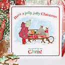 Boy's Personalised Christmas Card 'Sleigh Ride'