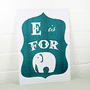 E Is For Elephant Alphabet Risograph Print