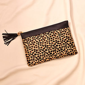 Leopard Two Tone Leather Clutch - bags & purses