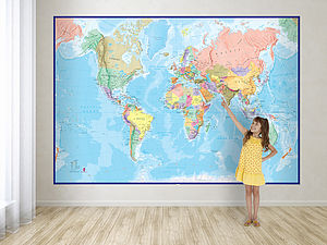 Giant World Map Mural Blue Ocean - office & study
