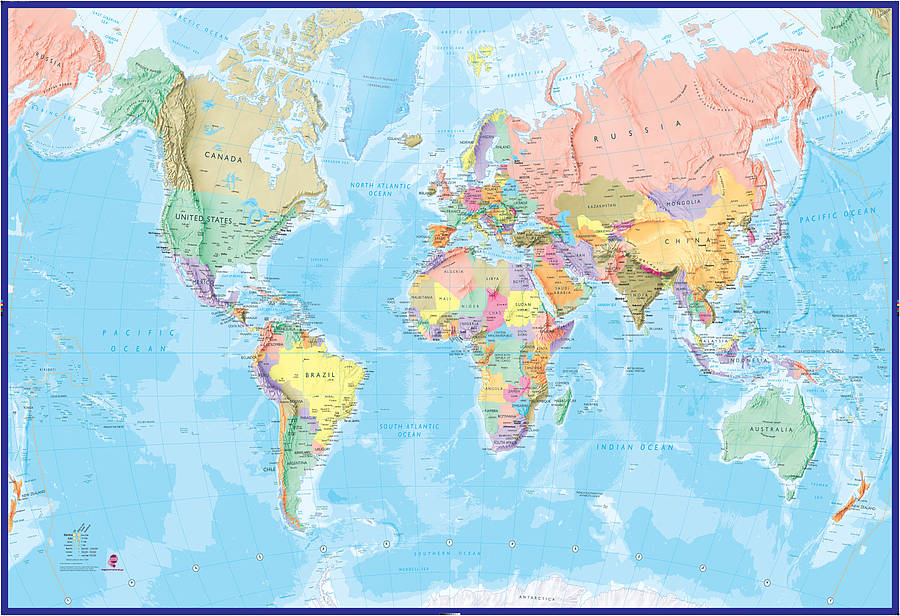 Giant world map mural blue ocean by maps international giant world map mural blue ocean gumiabroncs Images
