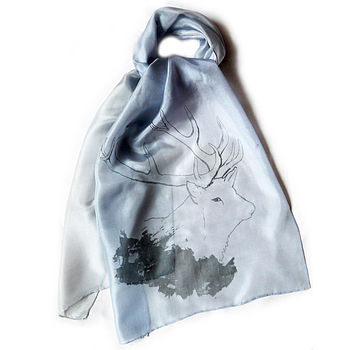 British Stag Silk Scarf