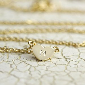 Personalised Flat Gold Heart Necklace - necklaces & pendants