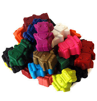Set Of 24 Robot Crayons In Carry Tub