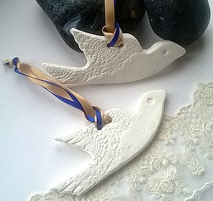White Clay Ceramic Dove Decoration