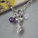 Sleepy Fox Cub Sterling Siver Charm Bracelet