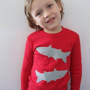 Children's T Shirt With Shark Print