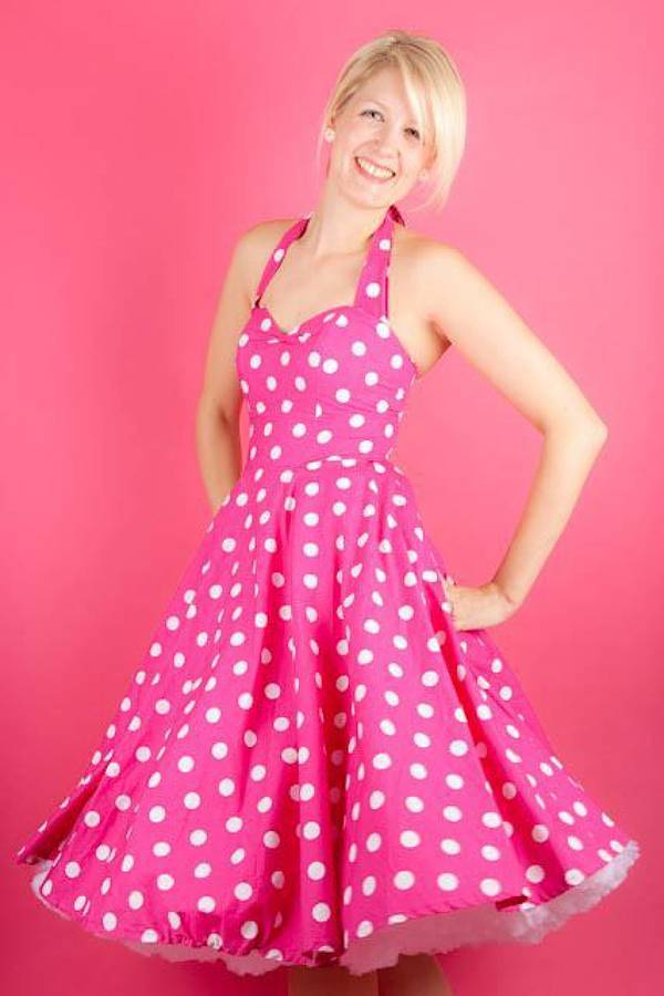 pink and white polkadot dress by oh my honey | notonthehighstreet.com