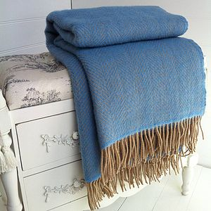 Blue And Wheat Herringbone Wool Throw - bedroom
