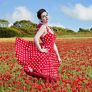 Red And White Polkadot Dress - dresses