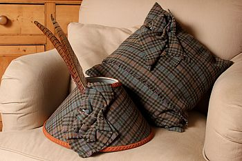 Blue And Tan Check Cushion